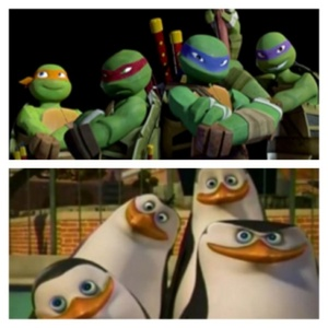I know! Some of آپ Fanguins might hate me for this but how about a crossover between Teenage Mutant Ninja Turtles and Penguins of Madagascar? Since both of their shows are CGI animated, both takes place New York City and both turtles and penguins have some similarities with each other. Think about it! Commando penguins meeting ninja turtles? If only Nickelodeon makes this two shows a crossover.