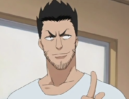 Isshin Kurosaki from 'Bleach'. meer acts in a goofy, energetic and fun-loving manner.