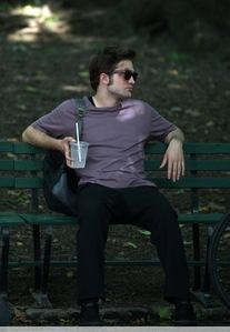 my Robert in between filming Remember Me in a purple shirt<3