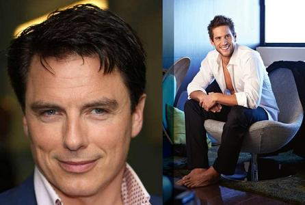 John Barrowman - Well hes 46 tomorrow so thats 28 years Daniel Ewing - Hes 27 so 8 years BOTH ARE AMAZING..Age doesnt matter to me♥