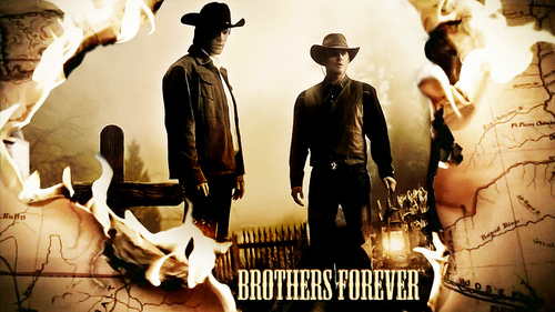 """Jensen and Jared dressed as cowboys (for Supernatural episode """"Frontierland"""") (collage not made door me)"""