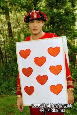 """Justin dressed, very fitting, as the """"King of Hearts"""" (from Passions; hope that counts ;))"""