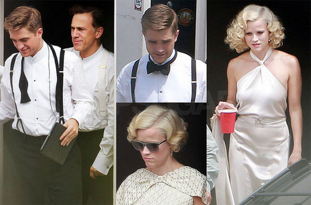 my Robert,on the R with his bow tie untied(this pic is from him on the set of Water for Elephants,with his co-stars Reese Witherspoon and Christoph Waltz
