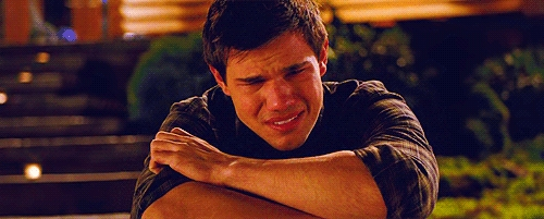 here is my Robert's Twilight co-star Taylor Lautner,who is not about to cry,he actually is crying in this scene from BD part 1.