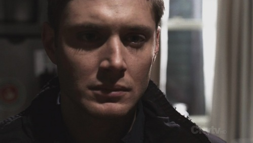 Jensen as Dean in Supernatural in the end of the episode Heart. He does let lose some tears though.