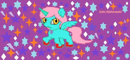 Name: Solar Nightengale Gender: Female Cutie Mark: mane 6's cutie marks around a thought bubble ONE অথবা TWO Hobbies: Going on quests and পাঠ করা BRIEF Personality: adventurous, honest, loyal, a bit serious, a keep calm in any situation ONE SPECIAL fact: The amulet around her neck flashes when someones not telling the truth. It cursed her so she can't lie and erased her memory a thousand years পূর্বে ( when Nightmare moon was Banished to the moon) and hurts her after someone lies to her আরো than 7 times. Picture of alicorn: one final thing she doesn't come from Equestria but from Galaxtria, প্রথমপাতা of the galaxy ponies.