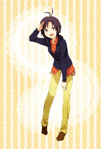 Makoto Kikuchi from IDOLM@STER. Our clothing can be similar style wise, I wear a lot of sweatshirts and long pants, too.