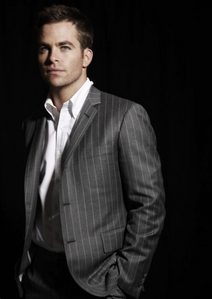 I couldn't find any of my Robert in a pin striped suit,but here is another hottie...Chris Pine in a pin striped suit:)