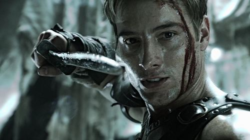 "Justin pointing a sword in ""Dominion"" (probably the best scene in all ten years)"