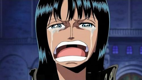 Robin from One Piece crying