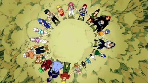 Fairy Tail. Its really sad... All the adventure Fairy Tail been through, but Ты know FT, they fight till the end. This scene made me cry a river, almost flooded my whole house, when the FT members hold hands...