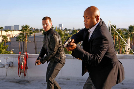 "Chris O'Donnell with LL Cool J, rapper and Chris' partner on ""NCIS: LA"""
