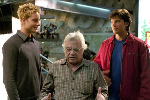 """Justin and Tom with director Jeannot Szwarc on the set of """"Reunion"""""""