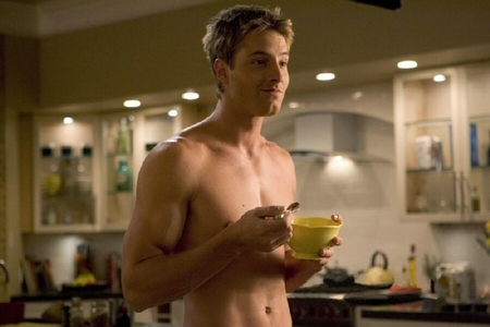 "Justin in a still from the TV movie ""Spellbound"", giving even a mundane task like eating breakfast a sexy touch"