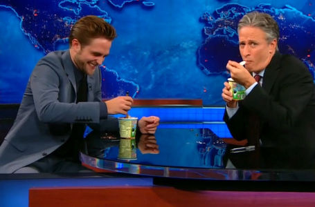 my Robert on the Jon Stewart toon eating ice cream.Robert+ice cream=1 tasty,yummy decadent dessert.Hey,Robert,baby,can I have a taste?<3
