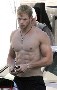 my Robert's co-star,Kellan Lutz shirtless and wearing a necklace<3