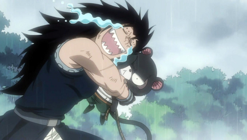 Gajeel and Patherlily (or Lily). They are sooo cute, such a great team together. Gajeel hugging Lily, KAWAII!!