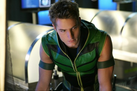 """My hottie wearing the """"Green Arrow"""" suit, which comes with a kap (from """"Collateral"""")"""