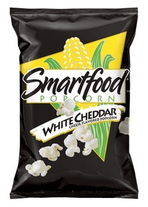 Smartfood popcorn in White cheddar. I upendo it. I buy it all the time and I don't care how unhealthy it is.