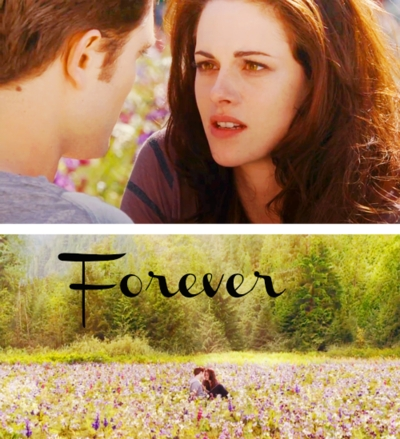there are so many fave scenes to choose from,but I would pick the end meadow scene in BD 2,with the word FOREVER in the pic.I think that word sums it up,don't Ты think? As for my least fave scene,that one is easier...it's from Eclipse..Bella and Jacob Поцелуи on вверх of the mountain.In one word: EWWWWWW!!!! (sorry but I'm Team Edward) here are some of my other fave scenes: Twilight:when they first see each other,the meadow scene,their first Kiss and the prom scene New Moon:the parking lot Kiss scene,them in Carlisle's study(before Alice comes),their reunion in Italy. Eclipse:beginning meadow scene,the proposal scene,the end meadow scene BD 1:wedding and honeymoon scenes BD 2: opening scene,cottage scene and the end scene, I have other fave scenes but those are my вверх вверх fave ones from the saga