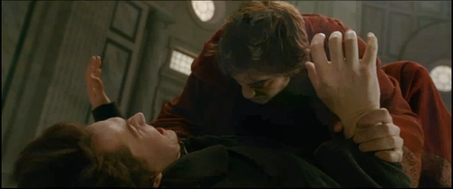 my Robert in a scene from New Moon trying to keep Felix(played oleh Daniel Cudmore)from going after Bella.<3
