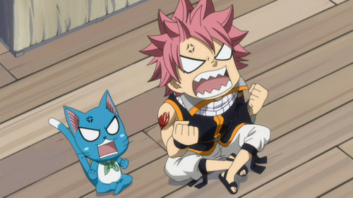 Natsu Dragneel and Happy Love this pink-haired dragon and talking blue cat :) <<<3