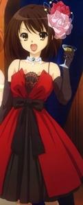 Haru-chan from The Melancholy of Haruhi Suzumiya wearing a dress!