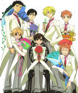 Except Haruhi (One sitting on chair), all other are guys! XD Host club from the Anime Ouran High School Host Club. ^^