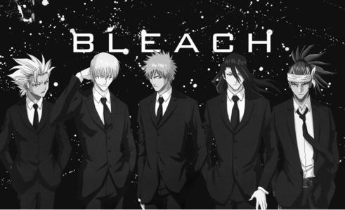 Here are Hitsugaya-kun,Gin-san,Ichigo-kun,Byakuya-sama and Renji-kun from Bleach all in suits!