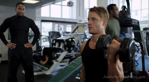 My hottie pushing some weights (hope that counts!)