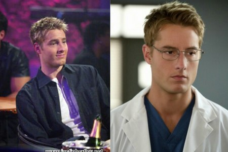 "Justin in his very first role as 여우 기중기, 크레인 on ""Passions"" (left) and as Dr. Will Collins on ""Emily Owens, M.D."". There are 10 또는 11 years between them two (and he's still getting hotter ;))"