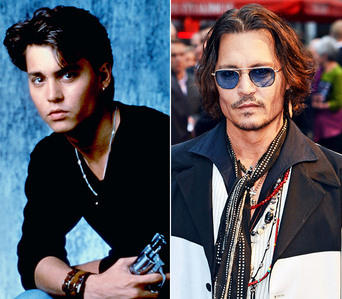 Johnny Depp when he was 22 또는 23 and now.