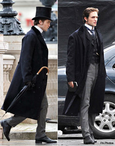 my Rob wearing a period costume suit for Bel Ami(does that count?)