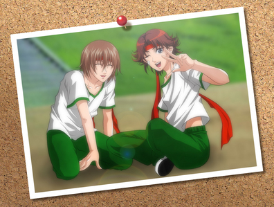 Fuji and Eiji from Prince of 테니스 when they were first years...