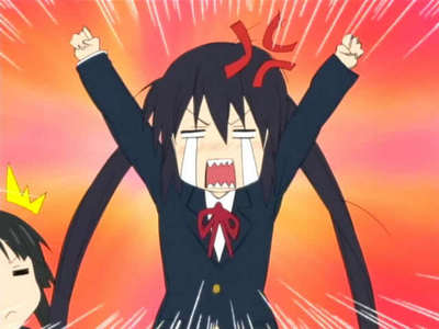 Azusa from K-ON! She went on a rage because everyone was being lazy and not serious enough. XD