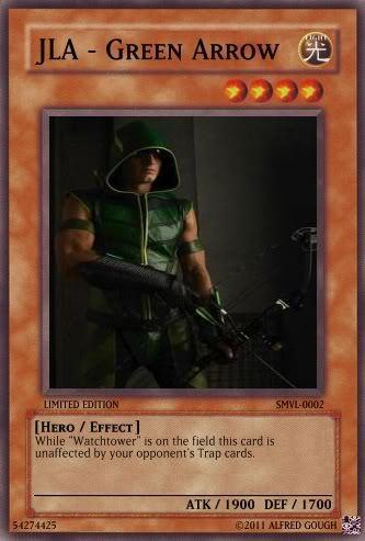 Justin as Green Arrow on a trading/Yu-Gi-Oh card