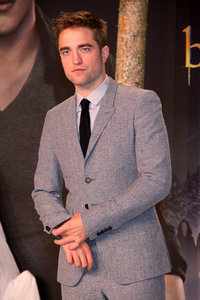 my 50 shades of gray wearing a gray suit at the BD 2 Germany premiere<3