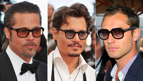 Brad Pitt,Johnny Depp and Jude Law all wearing glasses.