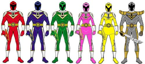 "Power Rangers Cyber Force (think PR meets TRON) Morphing Call: """"Cyber Force Load Up"" Red Ranger - Name: Tyson Burrows Zord: Cyber Zord 1 (Fighter Jet, Head & Torso) Blue Ranger: Wayne Gould Zord: Cyber Zord 2 (Helicopter, Right Arm) Green Ranger: Niko Farrell Zord: Cyber Zord 3 (Race Car, Left Arm) rose Ranger: Quinn Parker Zord: Cyber Zord 4 (Motorcycle, Right Leg) Yellow Ranger: Donna Weathers Zord: Cyber Zord 5 (Train, Left Leg) Silver Ranger: Ralph morgan Zord: Silver Dragon (2 modes, Dragon Mode & Megazord Mode) Mentor: Gigatron Villian: Terratron Henchmen: Viralites"