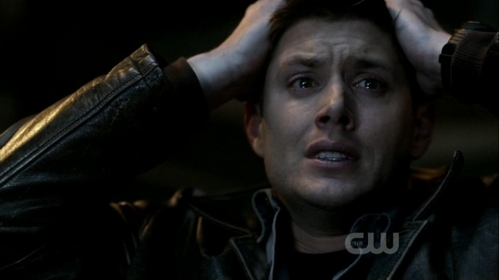 "Jensen in ""Swan Song"", running his hands through his hair in desperation"