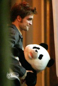 my Rob-bear with a stuffed panda bear.Aww baby,is that for me?You are sooo sweet<3