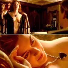 Kate Winslet posing nude for Leonardo DiCaprio in the Titanic portrait scene.<3