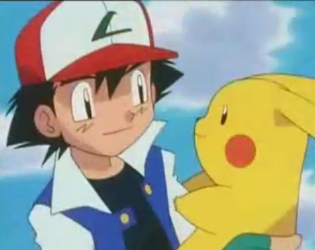 Satoshi-kun (Ash in the english dub) holding Pikachu,these two are the best of Друзья and have been through so much together!