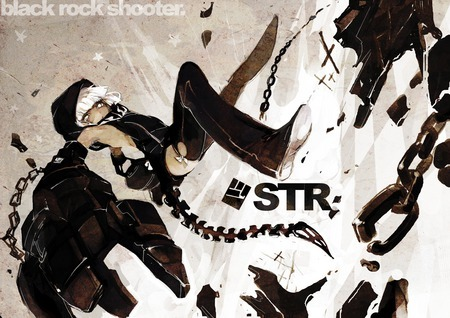 STRength from black rock shooter her skin is a light black in the animê :3