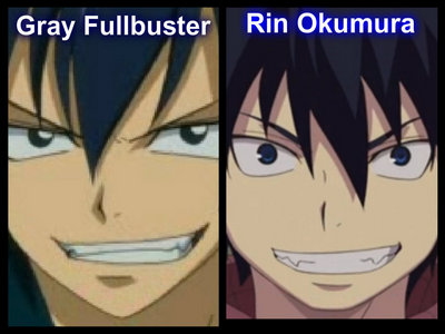 Gray and Rin look like they have the same faces (kinda :) Even the same face expression ^.^