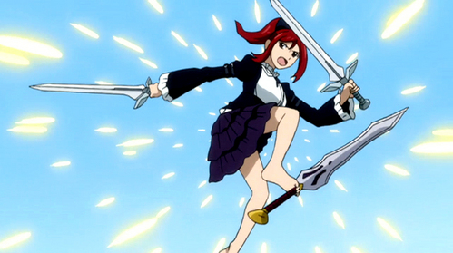 Pretty much Erza Scarlet is good at all of these things :) Fighting, Dodging, and other combat skills ^.^ She's also fearsome and beautiful =] She can use her swords with her feet! :)