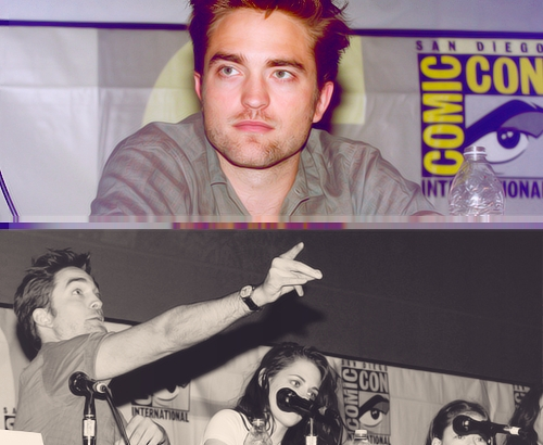 my baby(in the bottom pic)pointing to the crowd at the 2012 Comic-Con<3