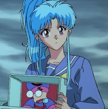 Hmm,well how about Botan from Yu Yu Hakusho,she kind of has long blue hair and it's in a ponytail!