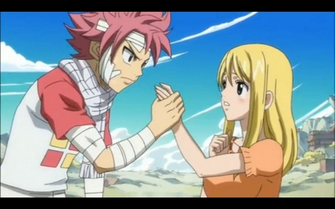 The Tenroujima Arc When Lucy was crying and Natsu held her hand <<3333 I can smell the cinta from those two lovebirds ^.^