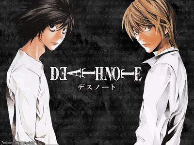 i say deathnote.....................it was fun& superb এল-মৃত্যু পত্র hanging around..................after his death,..........the জীবন্ত became worst................ M...........or.......N.....they r not cool as L................it was boring and tragic after his death............and most of all Light is soooo cold